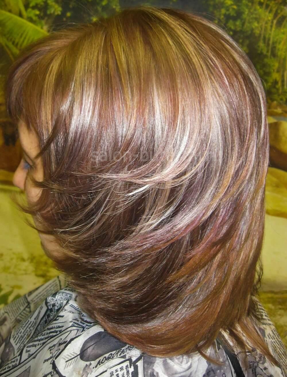 Окраска волос в три цвета